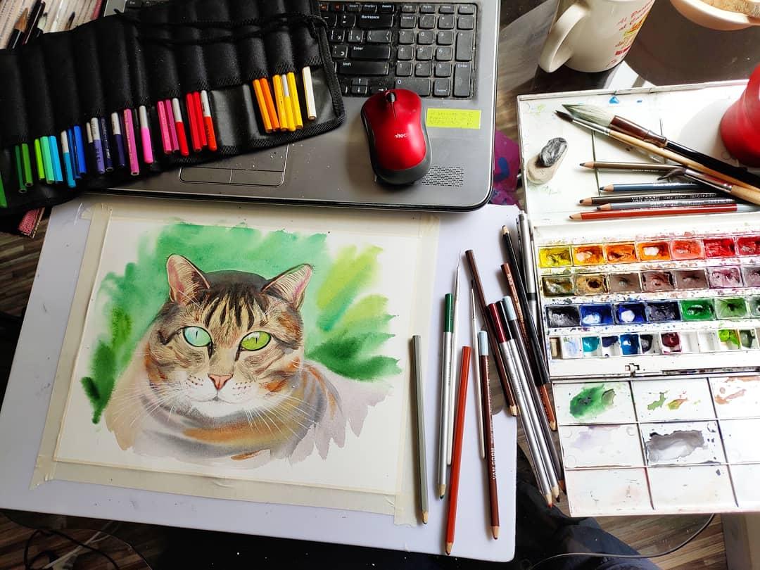 pintar un gato en diferentes técnicas.
