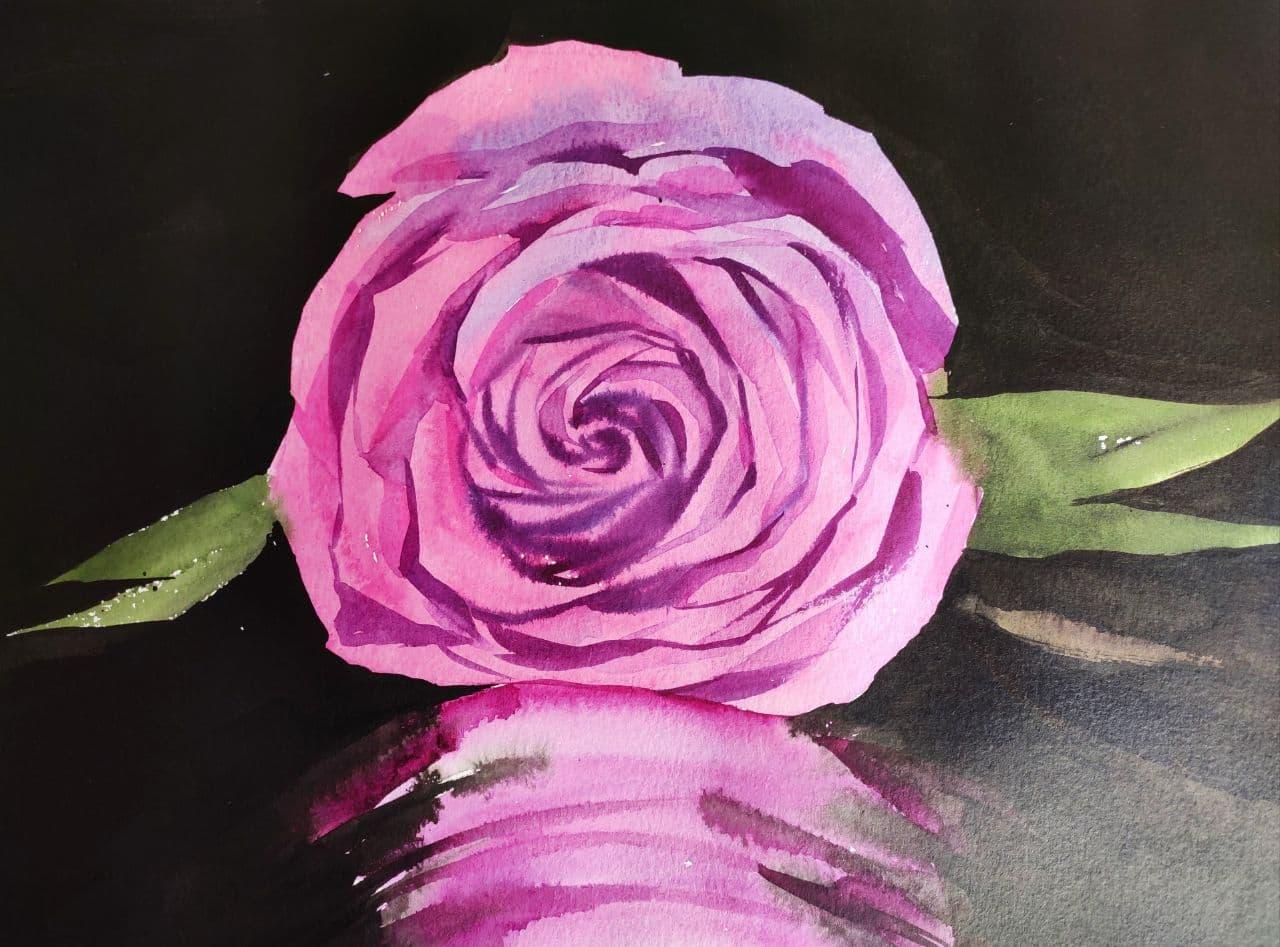 pintar flores en acuarela
